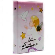 ALBUM BATISMO 15X21 PARA 40 FOTOS (anjinho rosa)